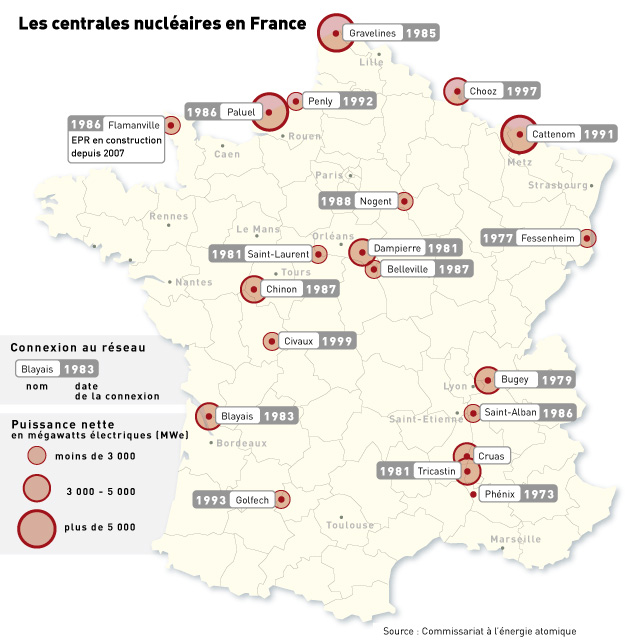 La carte de centrales nucleaires en France